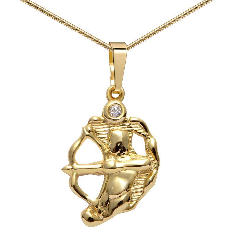 MATERIA Damen Kettenanhänger 333 Gold Sternzeichen Schütze mit Halskette inkl. Box - Made in Germany #KA-282