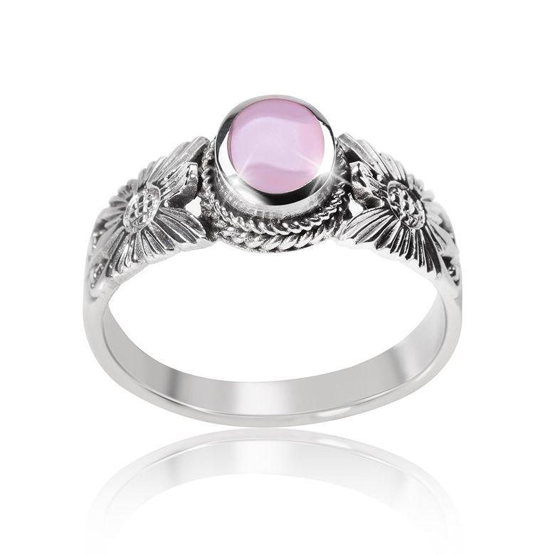 MATERIA 925 Sterling Silber Solitär Ring Blume - Perlmutt Ring antik rosa inkl. Schmuckbox SR-76