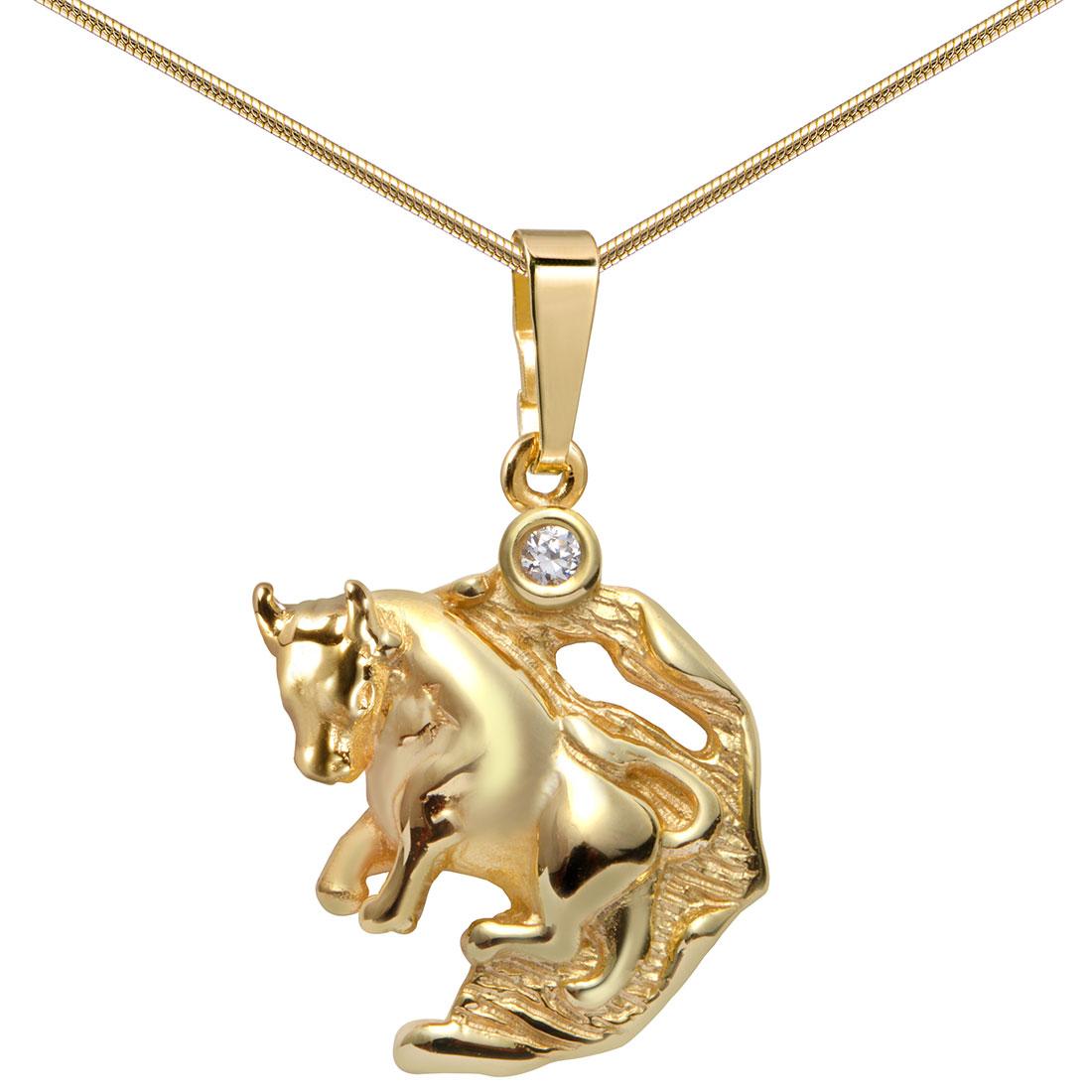 MATERIA 45cm Halskette & 333er Gold Anhänger Stier