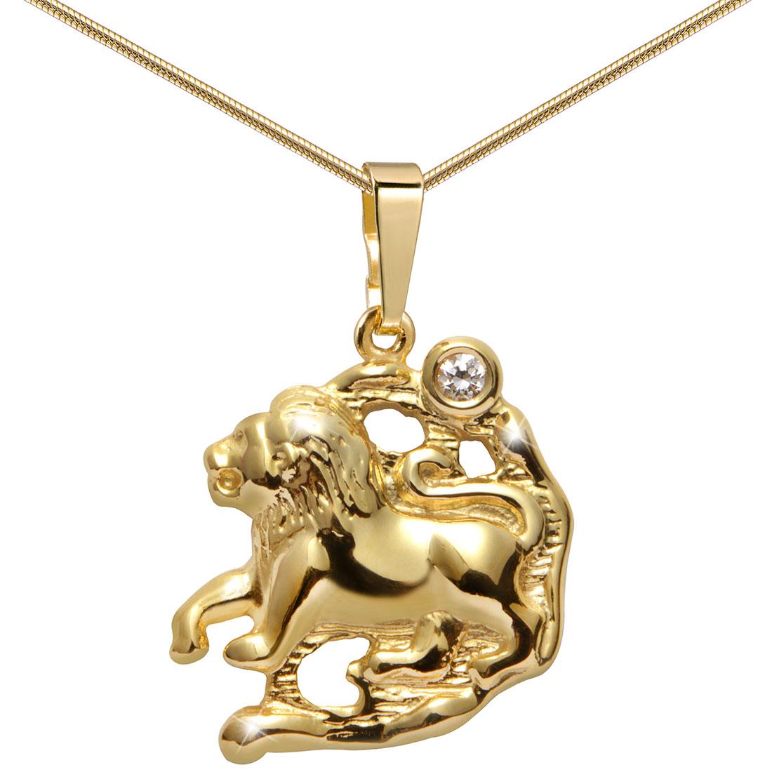 MATERIA 45cm Halskette mit 333 Gold Anhänger Sternzeichen Löwe