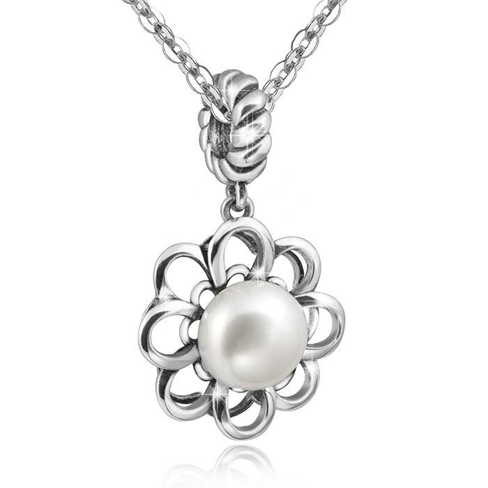 MATERIA Silber Halskette + 925 Silber Perlen Anhänger FIORE Blumen 3D Blüten mit Box #283-30