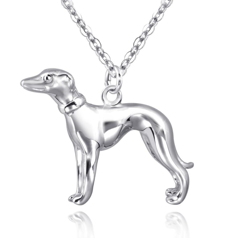 MATERIA Windhund Anhänger Silber 925 Hund rhodiniert
