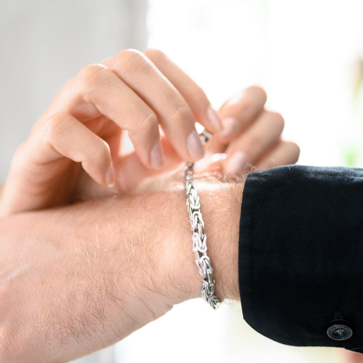 Materia Herren Armband Königskette 5mm rhodiniert