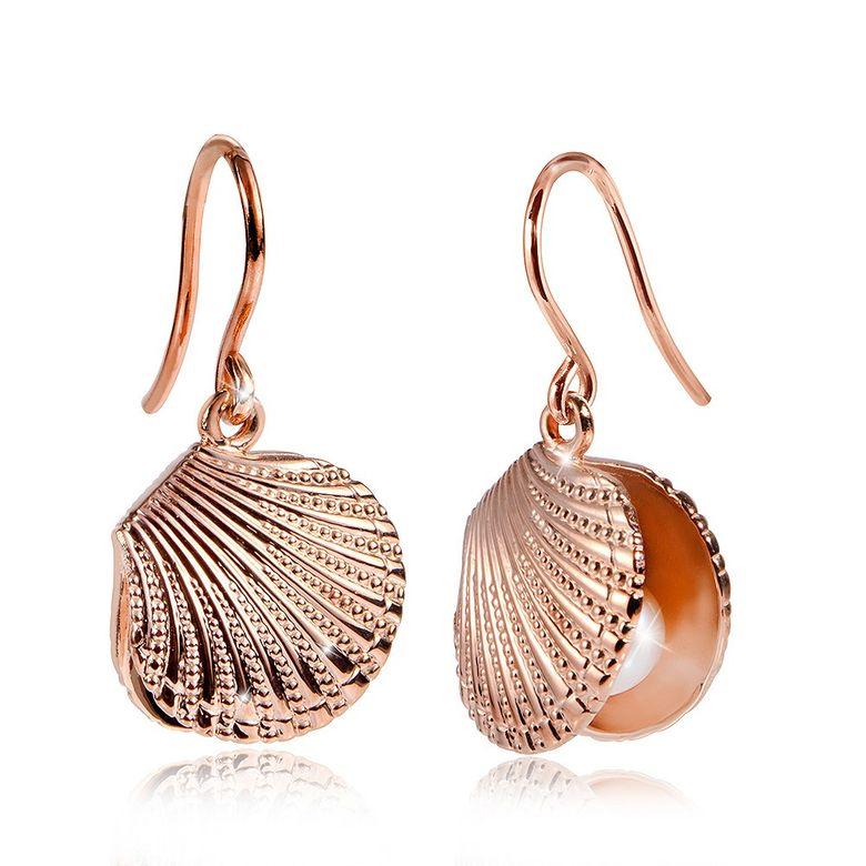 MATERIA Damen Ohrringe Muschel Rosegold 925 Silber mit Perlen / Deutsche Fertigung #SO-253