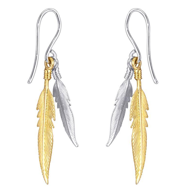 MATERIA Damen Ohrringe Gold hängend - Feder Ohrhänger 925 Silber rhodiniert + vergoldet  in Geschenk-Box SO-119_Gelb