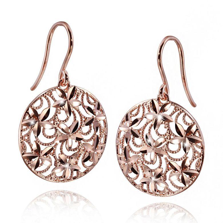 MATERIA Damen Ohrringe Rosegold Blumen Silber 925 SARA - Gold Ohrhänger groß diamantiert mit Box #SO-257