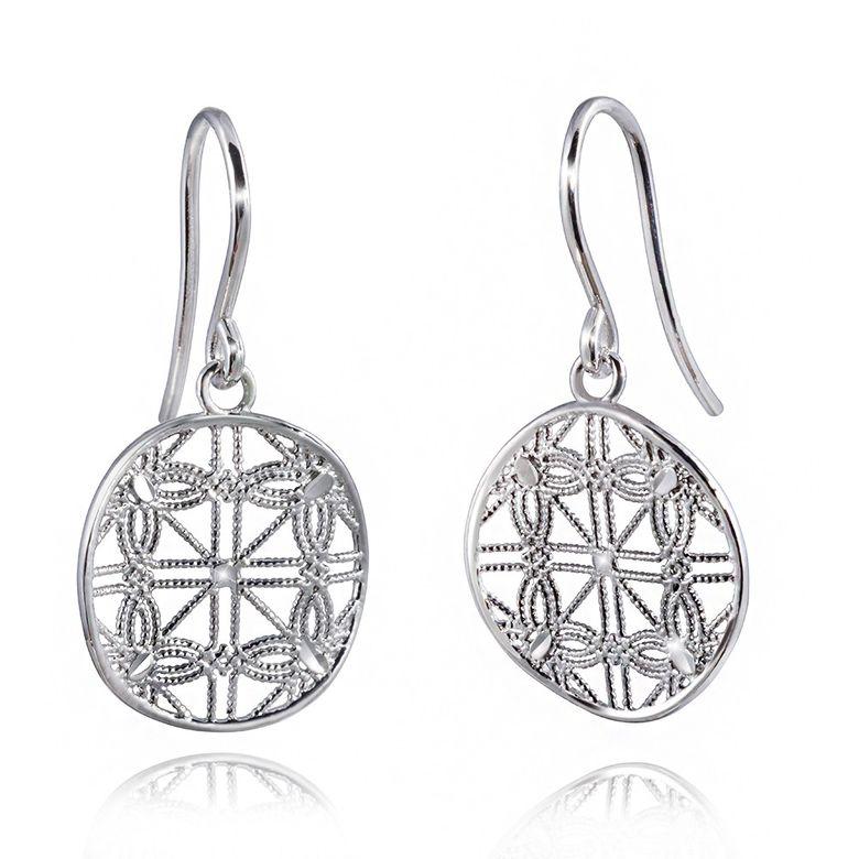MATERIA Damen Ohrringe Blume des Lebens Silber 925 LISA - Ohrhänger rund gewellt mit Box #SO-261