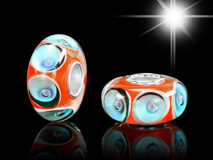 925 Sterling Silber Murano Glas Bead Element Blau / Orange - 7 x 13mm - Beads Modell: #977
