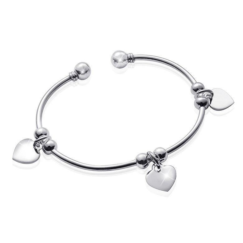 MATERIA Damen Armreif mit Gravur Herzen Silber 925 offen AMENA - Kugel  Armband inkl. Schmuckbox 07322e31ae
