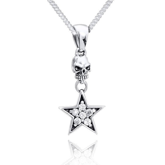 MATERIA Damen Kettenanhänger Totenkopf Silber 925 HADES mit Pentagramm Anhänger Zirkonia weiß inkl. Schmucketui #KA-81