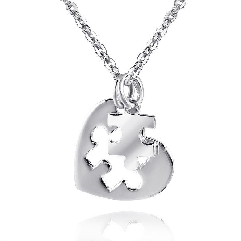 MATERIA Partner Anhänger Puzzle Silber 925 zweiteilig Kettenanhänger Herz Liebe Partnerschaft inkl. Box #KA-338
