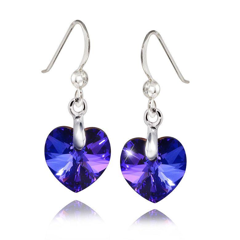 MATERIA Kristall Damen Ohrhänger Herz hängend HELIOTROPE 925 Silber Ohrringe blau inkl. Schmuckbox #SO-267