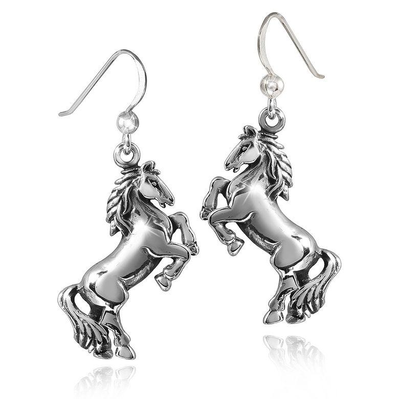 MATERIA Damen Ohrhänger Pferde Silber 925 antik CAVALLO - Tier Ohrringe lang hängend mit Box #SO-268