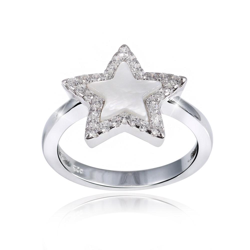 Stern Perlen Silber Eiskristall Metall Weiß Weihnachten: MATERIA Perlmutt Ring Stern Silber 925 Zirkonia LUMINOSA