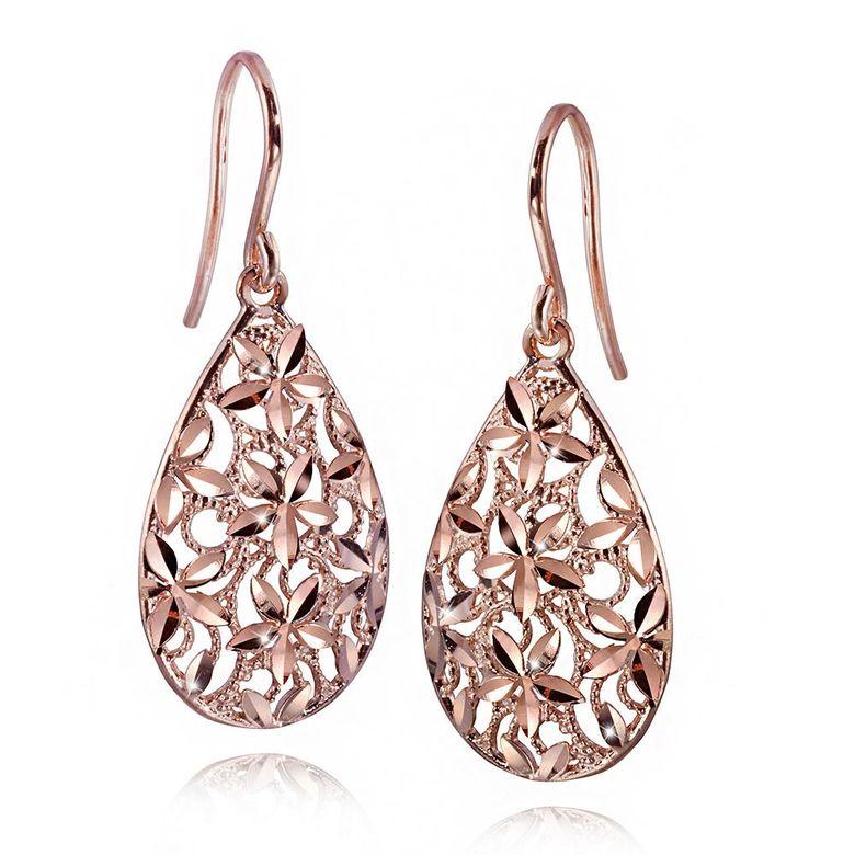 MATERIA Damen Ohrringe Rosegold Tropfen Silber 925 DANA - Gold Ohrhänger lang hängend mit Box #SO-262