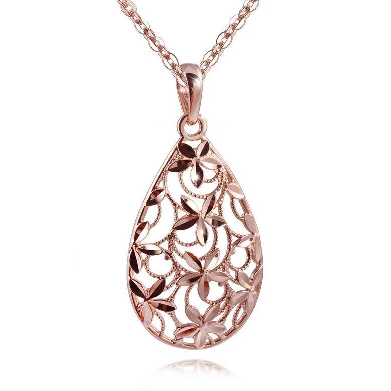 MATERIA Damen Anhänger Rosegold Tropfen Silber 925 DANA - Gold Anhänger für Halskette diamantiert mit Box #KA-337