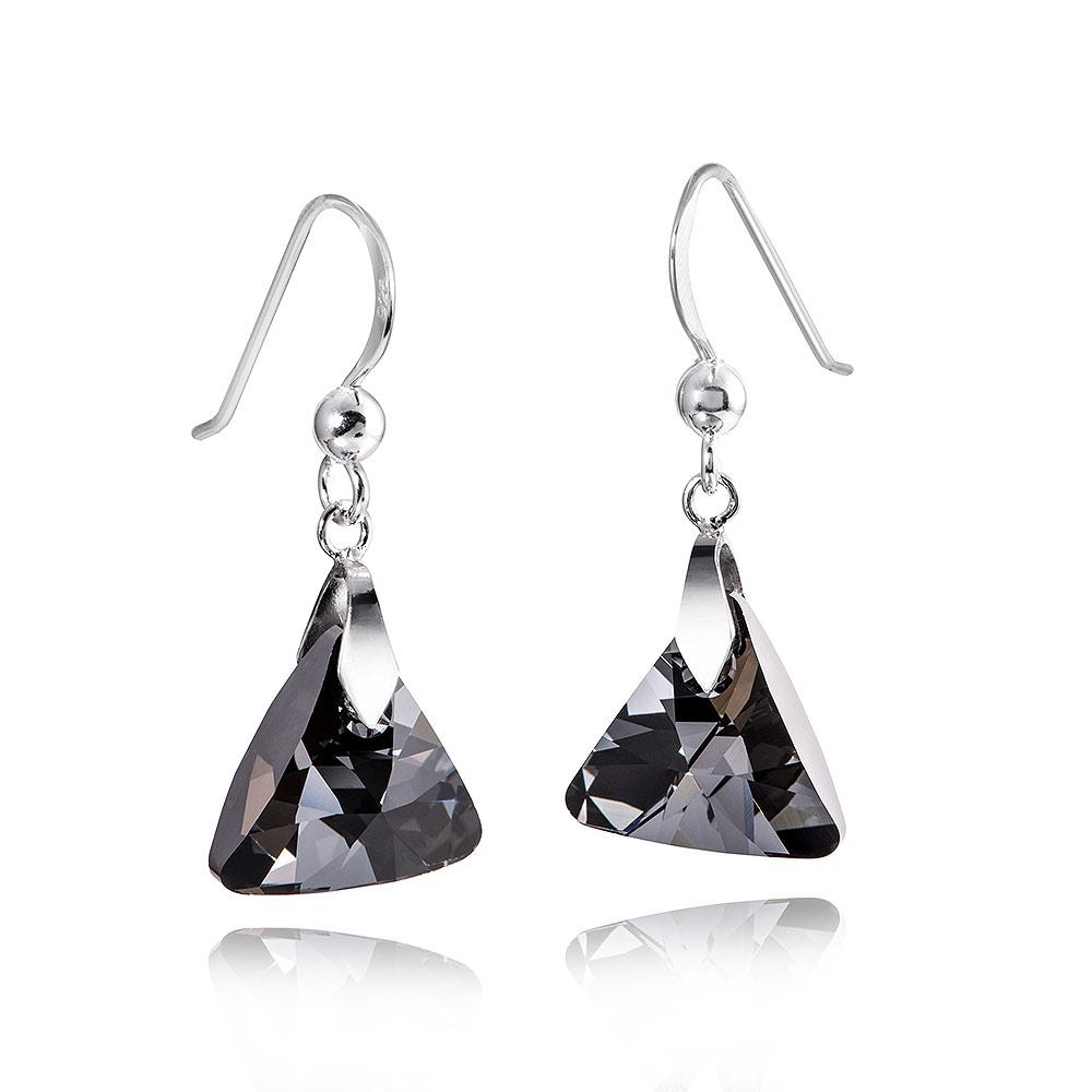 MATERIA Damen Ohrringe Dreieck Silber 925 mit Swarovski Kristallen
