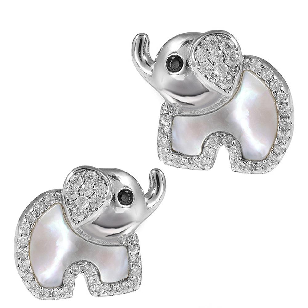 Ohrstecker Elefant Tiere Damen Ohrringe Ohrschmuck Modeschmuck Glas Blau