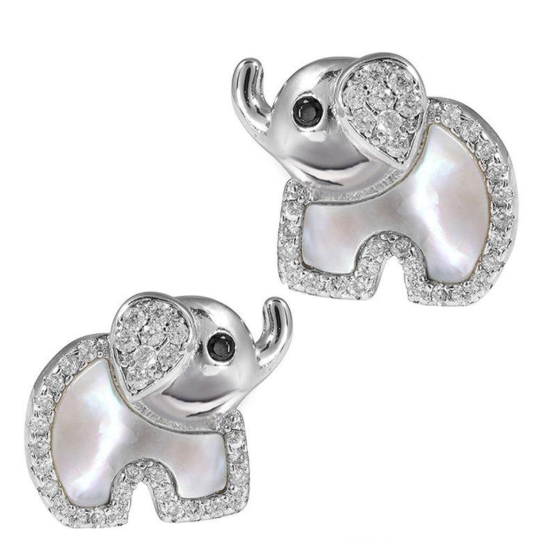 MATERIA Kinder-Ohrringe Silber 925 Elefant - Perlmutt Zirkonia Ohrstecker Mädchen Glücksbringer grün #SO-273