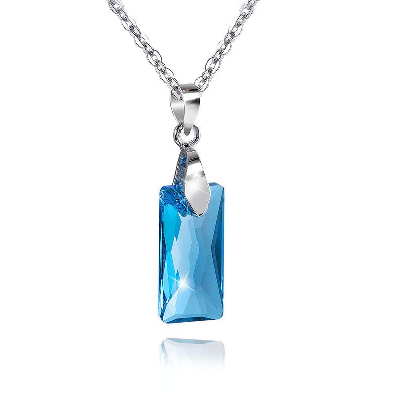 MATERIA 45cm Ankerkette mit Damen Anhänger Rechteck 925 Silber mit Swarovski Kristallen blau #SWK-11