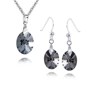 MATERIA 45cm Halskette mit Damen Anhänger / Ohrringe 925 Silber mit Swarovski Kristallen oval schwarz #SWS-1