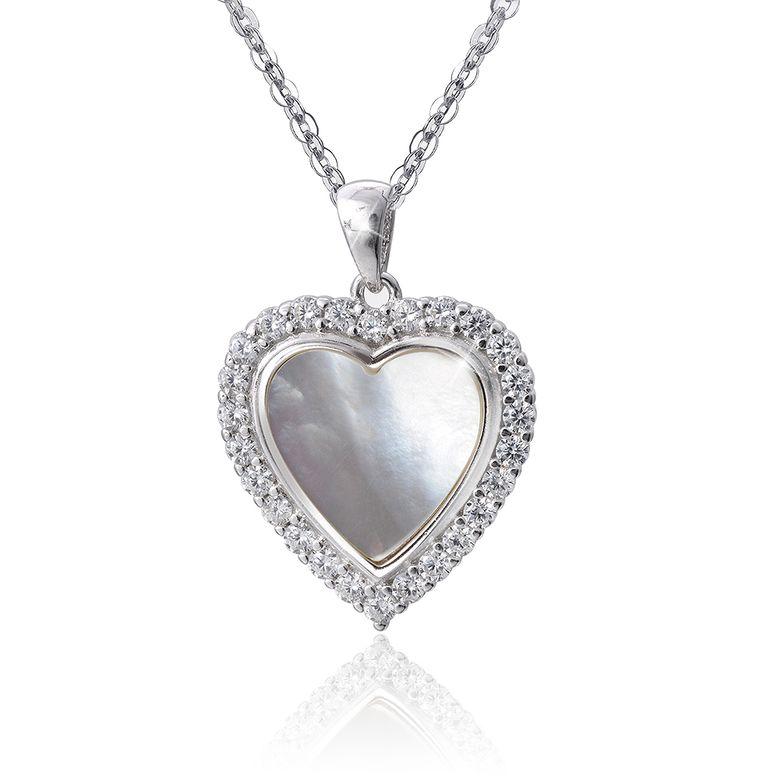 MATERIA Damen Anhänger Herz 925 Silber mit Perlmutt Zirkonia weiß für Halskette mit Box #KA-350