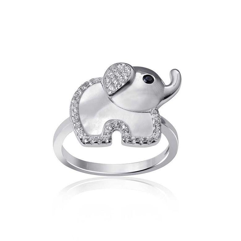 MATERIA Damen Ring Elefant Silber 925 mit Perlmutt - Zirkonia Ring Glücksbringer weiß mit Etui #SR-83