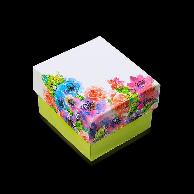 MATERIA Ringbox Ohrsteckerbox Blumen Schmuckschachtel / Mehrfarbig / teillackiert 45x45mm #B2-R
