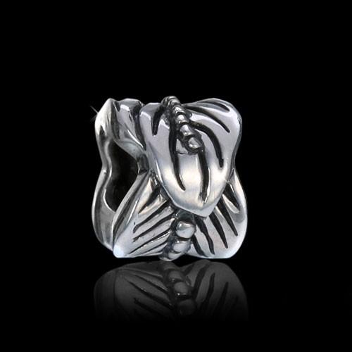Materia 925 Silber Beads Feder Element antik für Beads Armband