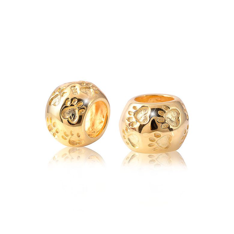 MATERIA PREMIUM Gold Beads Pfote Silber 925 - Tier Anhänger vergoldet für Bead Armband + Box #1686
