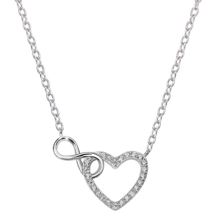 MATERIA Damen Collier Herz Unendliche Liebe - Zirkonia Halskette Silber 925 verstellbar 41-44cm mit Box K59