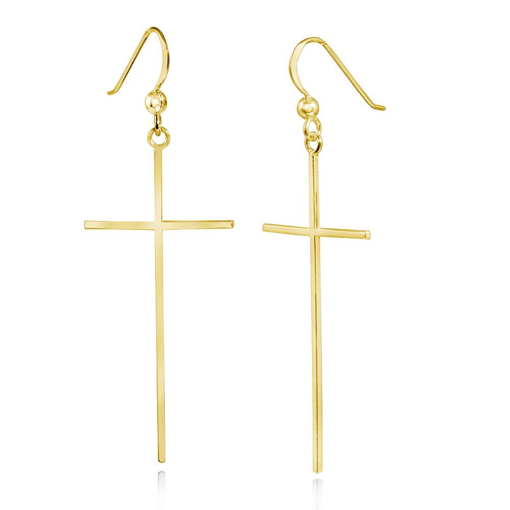 MATERIA Gold Ohrhänger Kreuz Silber 925 vergoldet Religion