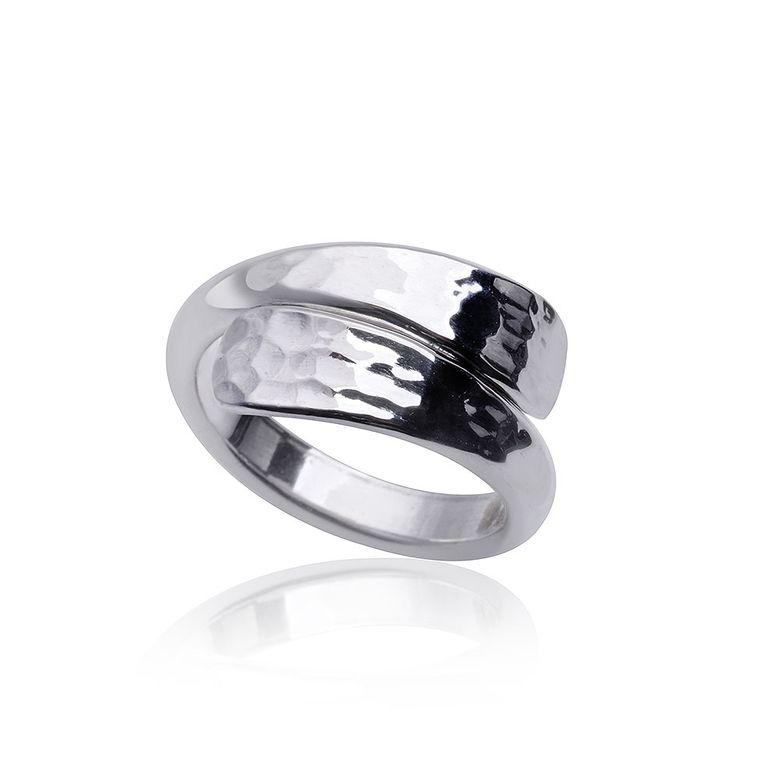 MATERIA Damen Wickelring Silber 925 gehämmert Ring rhodiniert geschwungen mit Ringetui #SR-88