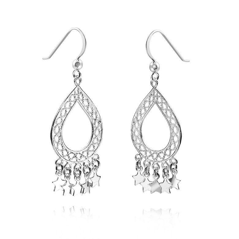 MATERIA 925 Silber Ohrhänger Sterne lang 18x47mm Chandelier Ohrringe orientalisch inkl. Box #SO-282