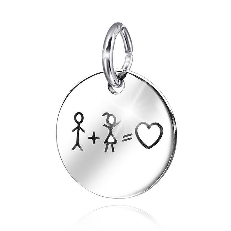 MATERIA Damen Kinder Herz Anhänger Silber 925 - Liebe Freundschaft Kettenanhänger Gravur rund in Geschenk-Box #KA-362