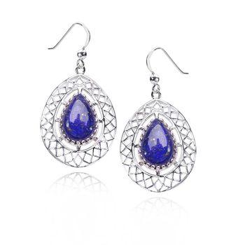 MATERIA Damen Ohrhänger Silber 925 mit Lapislazuli Edelsteinen Blau 23x43mm #SO-287