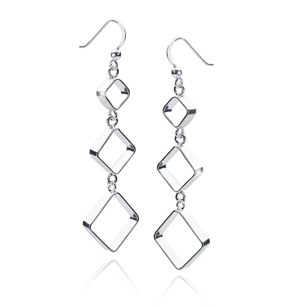 MATERIA Geometrische Ohrhänger lang Silber 925 quadratisch