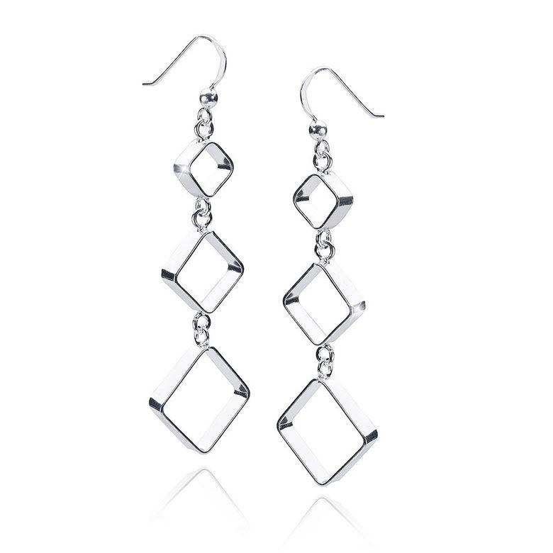 MATERIA Damen Ohrhänger lang Silber 925 - Quadratische Ohrringe geometrisch rhodiniert 17x63mm #SO-290