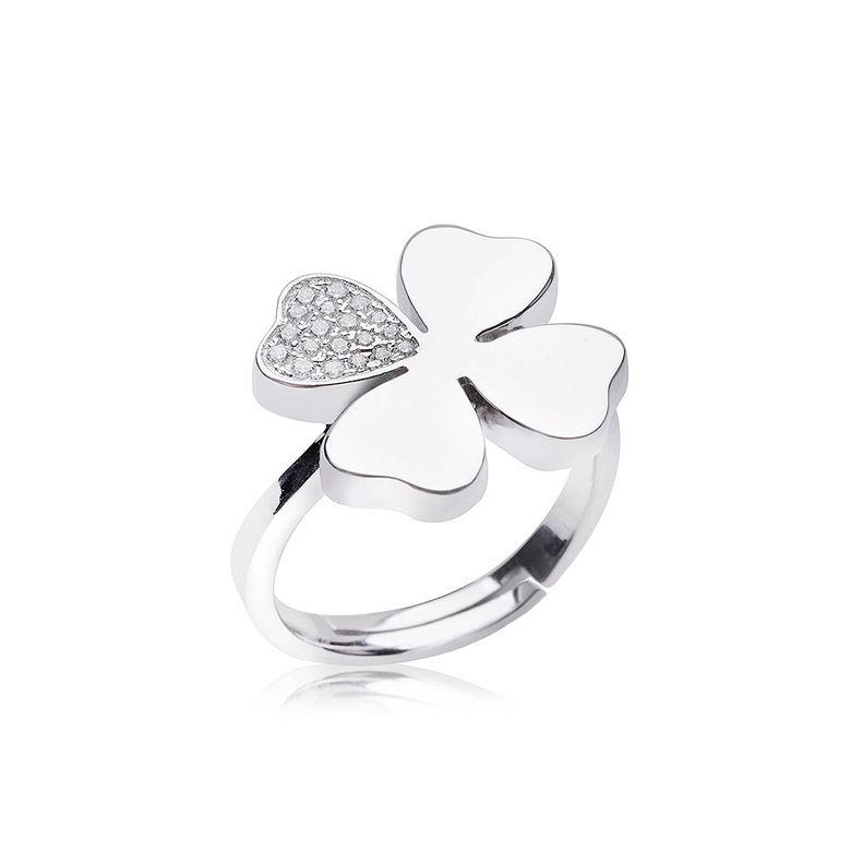 MATERIA Damen Ring Kleeblatt mit 19 Zirkonia weiß rhodiniert Glücksbringer inkl. Ringetui #SR-89