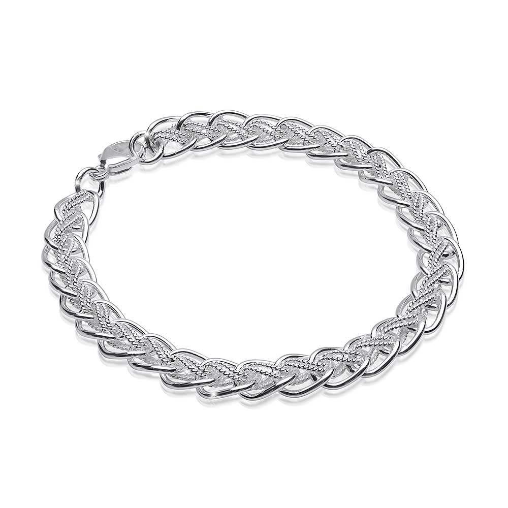 seriöse Seite bester Platz außergewöhnliche Auswahl an Stilen Details zu MATERIA Damen Armband Silber 925 Doppelpanzer 6mm rhodiniert  18-23cm verstellbar