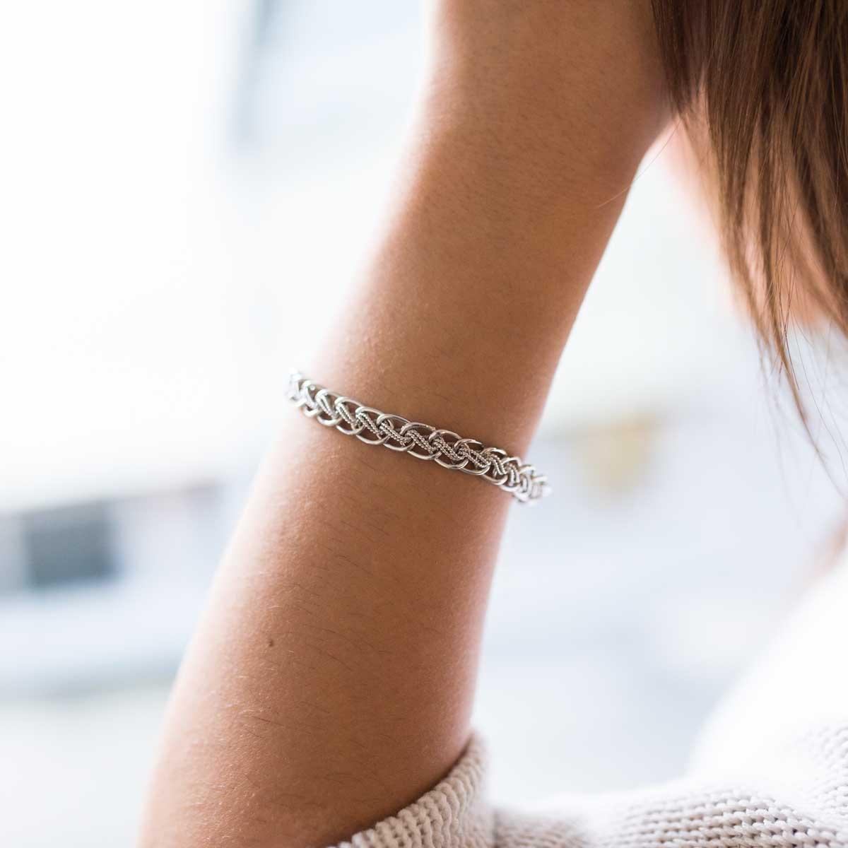 6c6f479d1afd MATERIA Damen Armband Silber 925 Doppelpanzerkette 6mm verstellbar – Bild 2