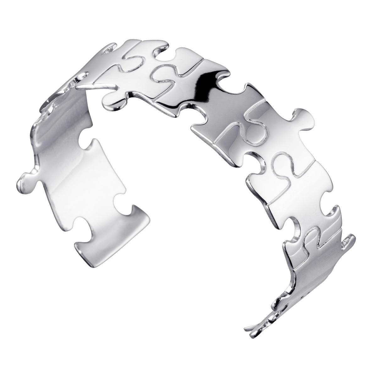 Damen Armreif Puzzle 925 Sterling Silber offen verstellbar