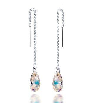 MATERIA Kristall Durchzieher Ohrringe lang 925 Silber mit Swarovski Crystals 10x88mm #SWO-19
