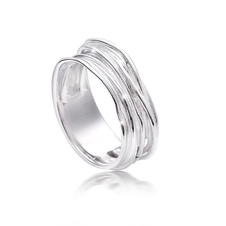MATERIA Damen Wickel-Ringe 925 Sterling Silber rhodiniert deutsche Fertigung in Ring-Schachtel SR-92