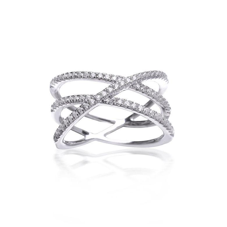 MATERIA Damen Kreuzring breit 925 Silber X-Ring Zirkonia weiß mit Ringbox #SR-93