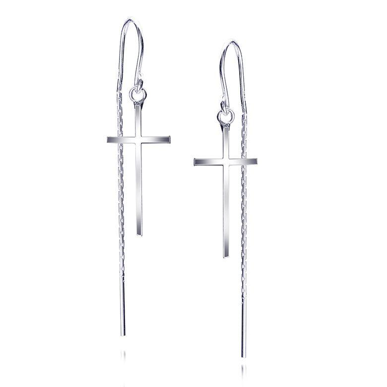 MATERIA Kreuz Ohrringe Damen Schmuck - 925 Sterling Silber Ohrhänger mit Kette lang hängend SO-303