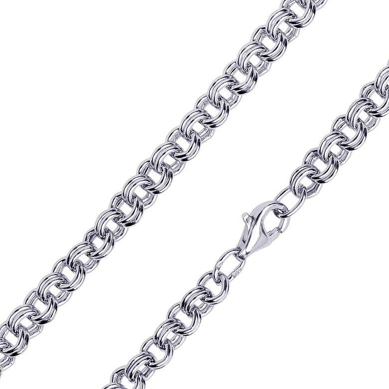 MATERIA 925 Silberkette Damen Herren breit - Zwillings Ankerkette Halskette 4mm rhodiniert 40-80cm in Etui #K71
