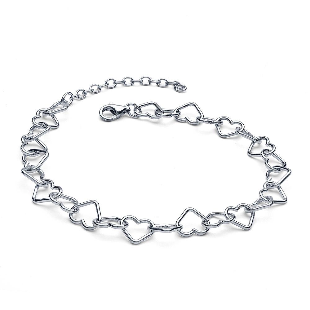 MATERIA Kinder Damen Fußkettchen Silber 925 Herzkette 20-25cm
