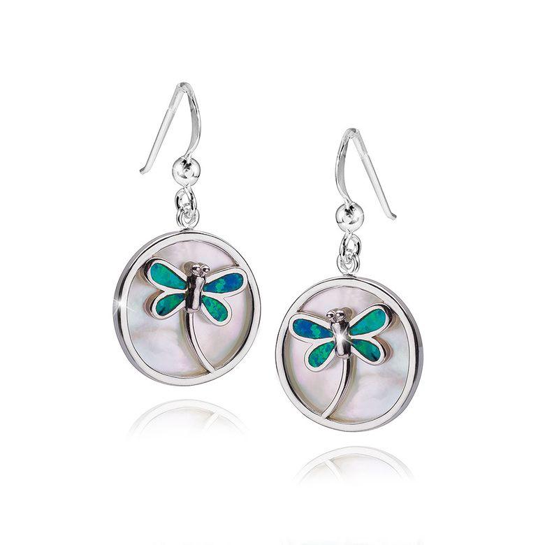 MATERIA Damen Ohrhänger Libelle rund 925 Sterling Silber mit Perlmutt weiß grün inkl. Box #SO-304