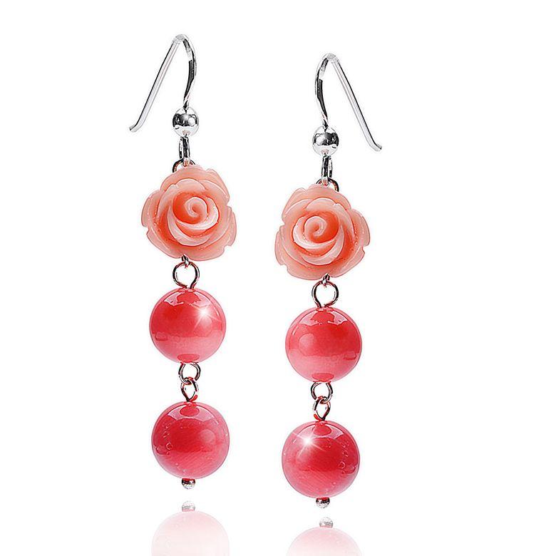 MATERIA Damen Ohrhänger lang Rosen 925 Silber aus Koralle rosa rhodiniert + Box #SO-305
